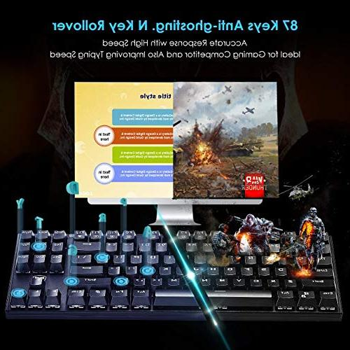 VicTsing Keyboard, Gaming keyboard with Switches, 87 Keys Anti-Ghosting, 12 Multimedia Keyboard for PC Laptop-Black