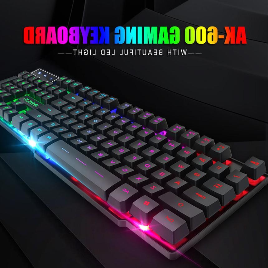 iMice Wired <font><b>Mechanical</b></font> sticker <font><b>Keyboards</b></font> LED Backlit Wired USB PC+x7