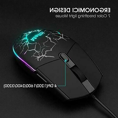 Wired Gaming Mouse Combo Laptop Backlit LED Feel