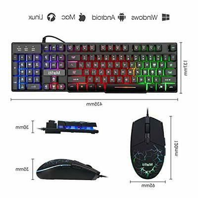 Wired Gaming Keyboard Laptop Backlit Feel