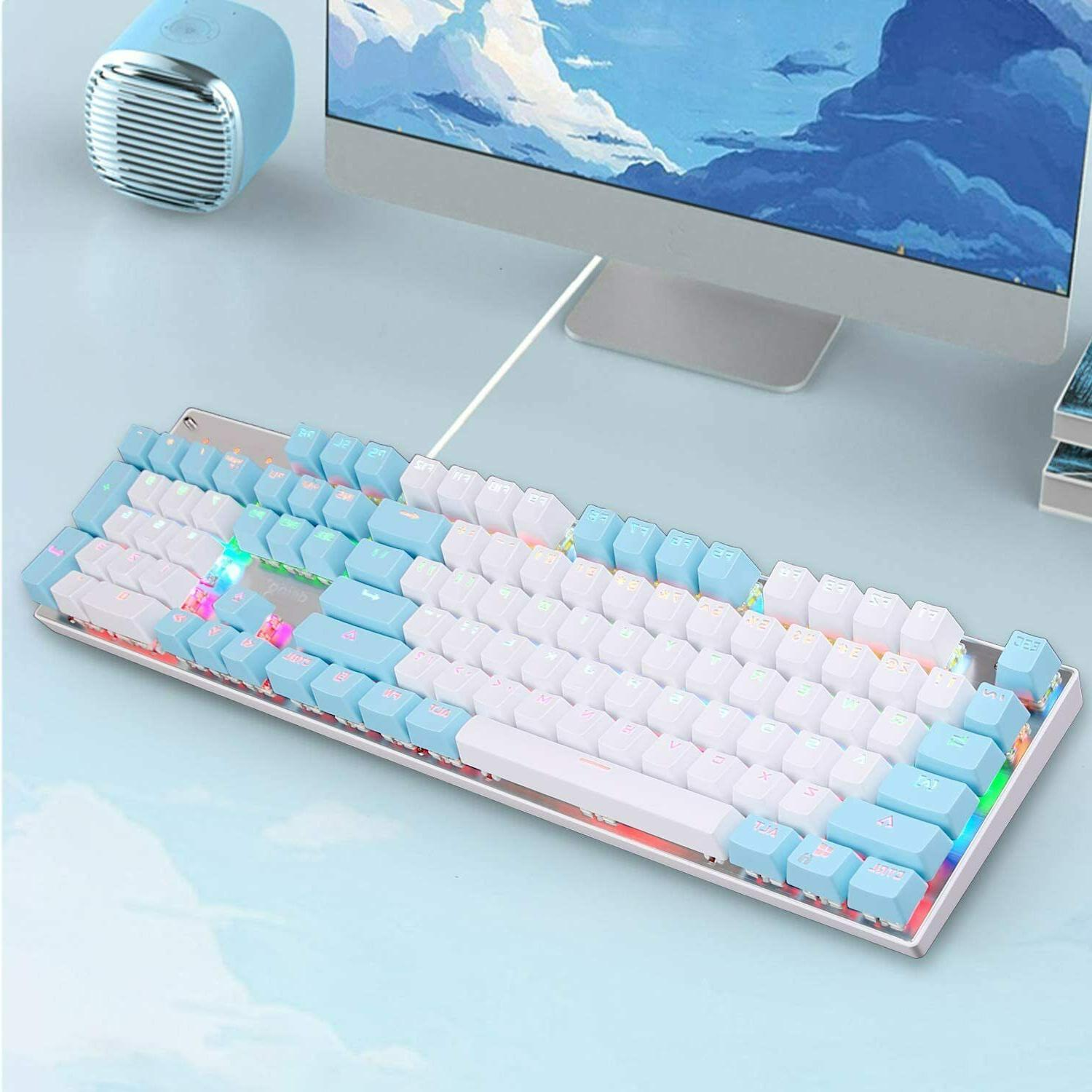Wired Gaming Keyboard Blue Switch LED Backlit For Mac