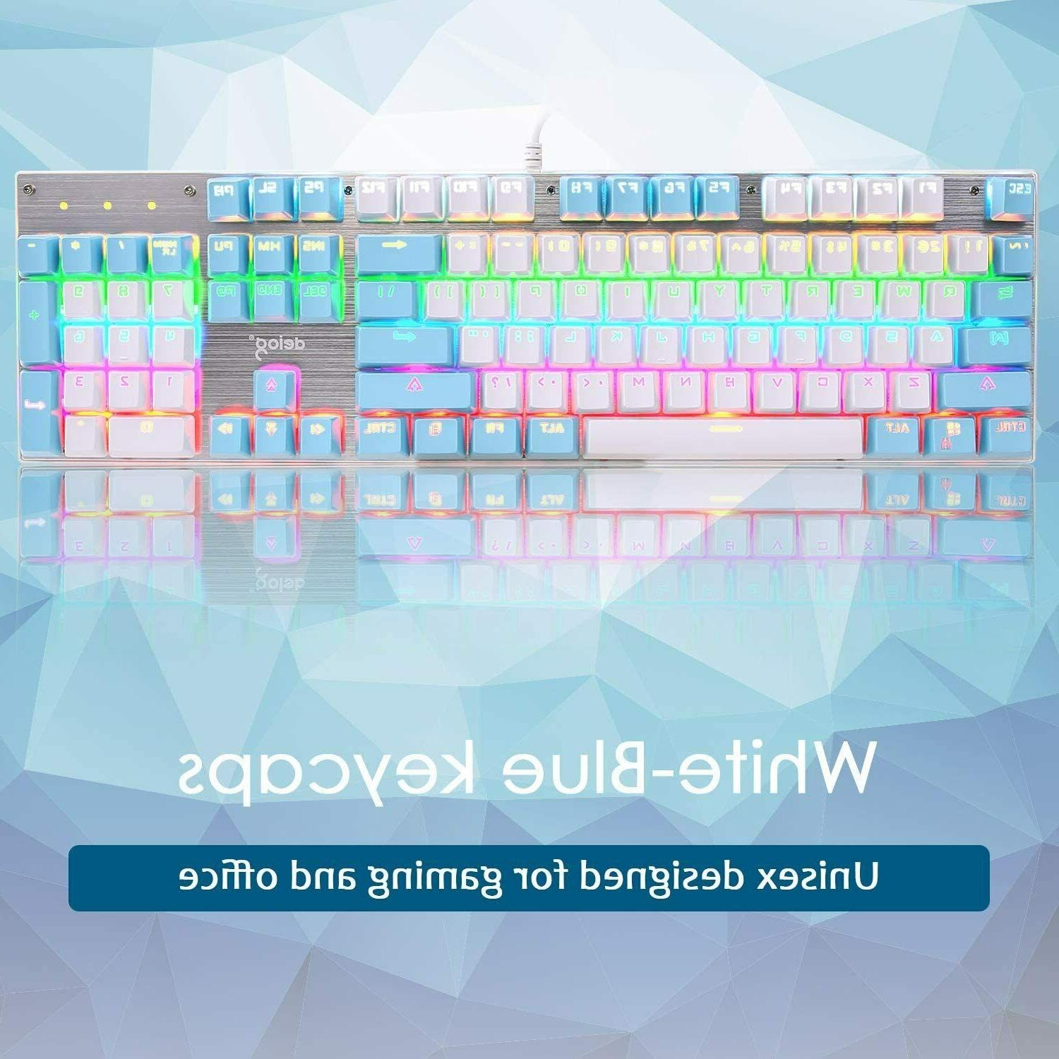 Wired Gaming Keyboard Blue Switch LED Mac