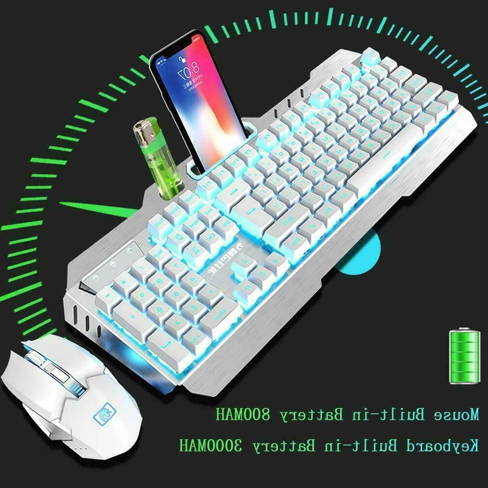 Rainbow Backlit Rechargeable Mechanical Feel Mouse Sets
