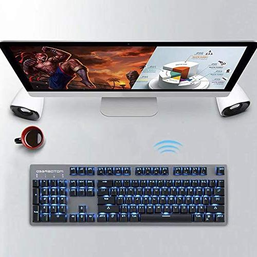 MOTOSPEED 2.4GHz Wireless/USB Mechanical Keyboard 104Keys Backlit Keyboard Typing,Compatible for Mac PC