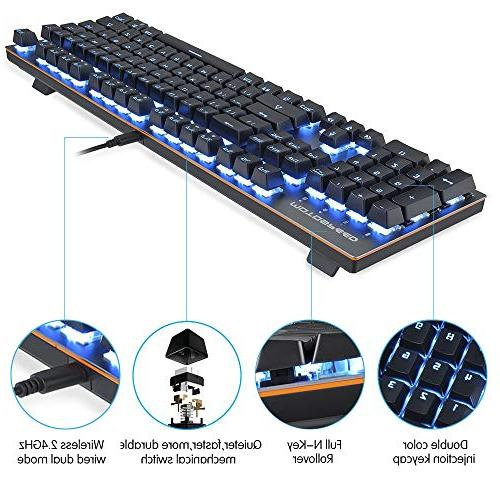 MOTOSPEED 2.4GHz Mechanical Keyboard Backlit Blue Keyboard Gaming Typing,Compatible for PC