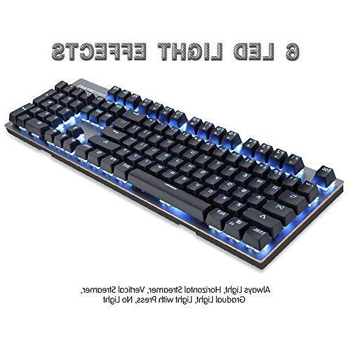 MOTOSPEED Mechanical 104Keys Backlit Blue Typing,Compatible for Mac