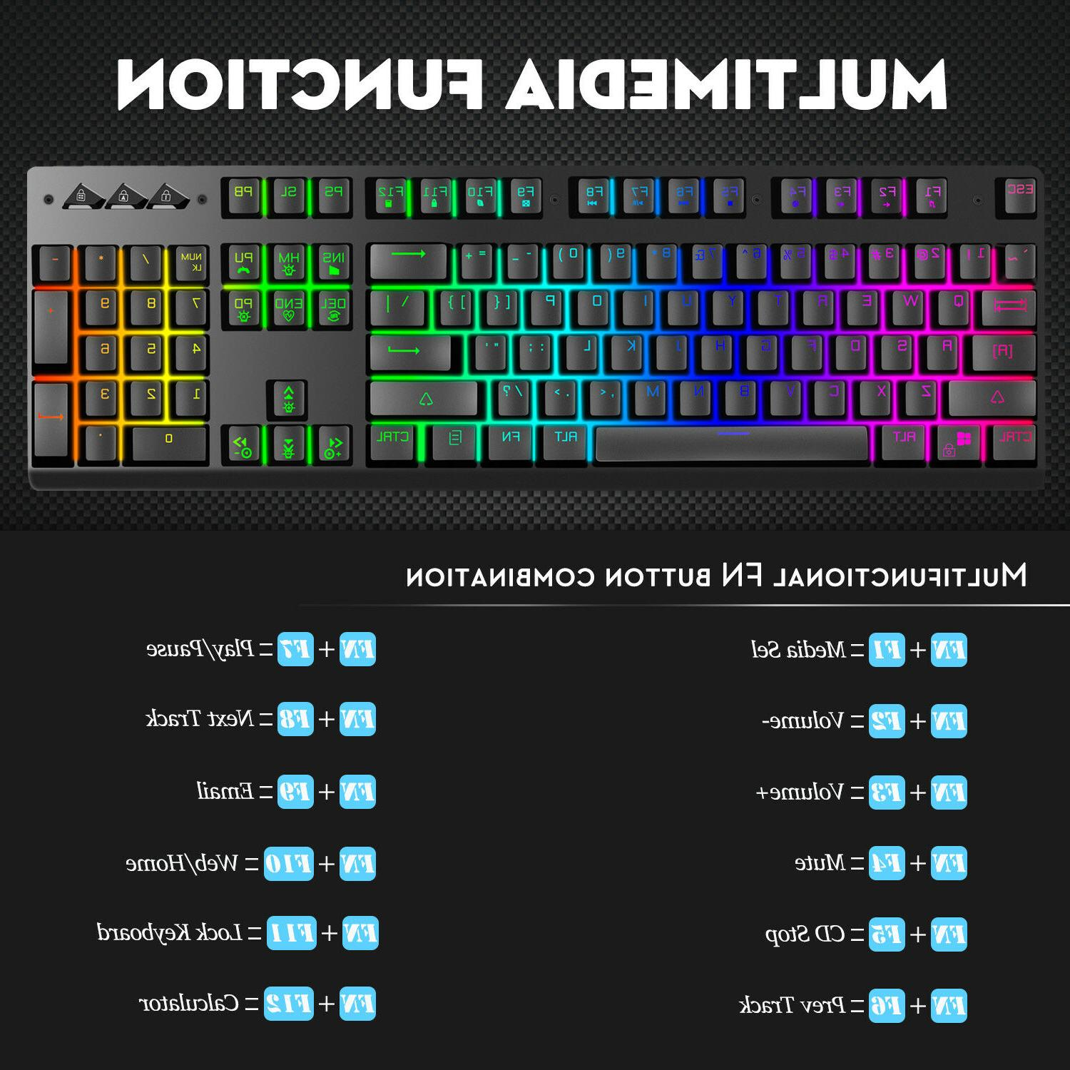 ZK-P010 Gaming Keyboard Mechanical-Similar LED Backlit RGB Rainbow USB Wired PC