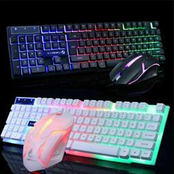 LED Computer Desktop Glowing Wired Mechanical Keyboard And M