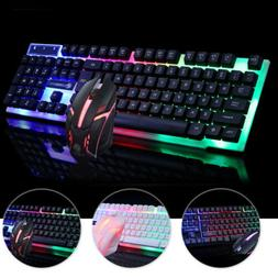LED Computer Desktop Glowing Wired Mechanical Keyboard OR Mo