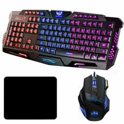 LED Gaming Keyboard an Mouse Set Mechanical Feel Breathable