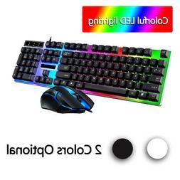 Led Light Backlit Computer Desktop Gaming Wired Keyboard Wit
