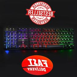 LED Light Up Large Gaming Keyboard Mechanical Like Wired USB
