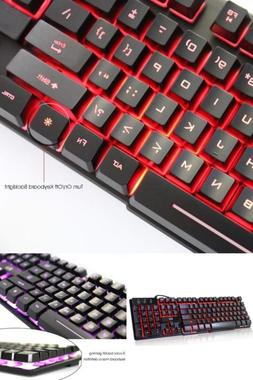 LED Mechanical Keyboard USB Wired 3 Backlit Colors For Worki