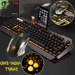 Mechanical Feel LED Backlit USB Ergonomic Gaming Keyboard+Ga