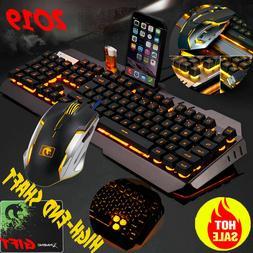 Mechanical Feel LED Backlit USB Ergonomic Gaming Keyboard+Ga