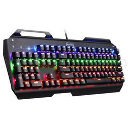 Mechanical Gaming Keyboard Ergonomic RGB Light 104 Key USB W
