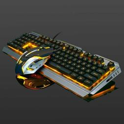 Mechanical Gaming Keyboard Mouse Set RGB LED Wired USB For P