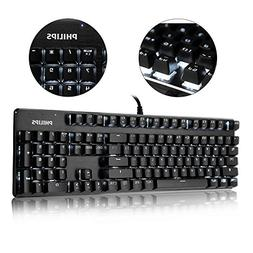 PHILIPS Mechanical Gaming Keyboard Wired Keyboard with Blue