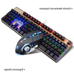 Mechanical Keyboard and Mouse combo,SADES K10 LED Backlit Wi