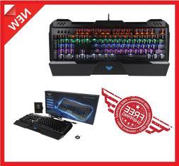 Mechanical LED Illuminated Backlit USB Wired PC Rainbow Gami