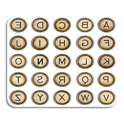 Emvency Mouse Pads Red Vintage Alphabet Typewriter Keys in L
