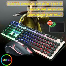 NEW T6 LED Rainbow Backlight Gaming Keyboard & Mouse & Mouse