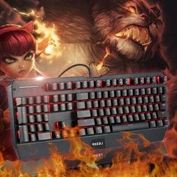 NEW USB Wired Gaming Mechanical Keyboard Cool 1 Color LED Ba