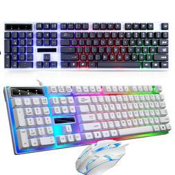 Led Backlit Computer Wired Gaming Keyboard + Mouse Ergonomic