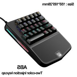 One Handed Mechanical Gaming Keyboard 28 Keys Wired Rainbow