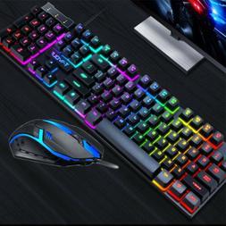 PC Computer Desktop Gaming Keyboard + Mouse Mechanical Feel