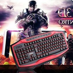 Pro Gaming Keyboard Led Backlit Wired Mechanical Feel Comput