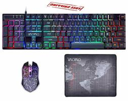 Pro Gaming Wired Keyboard and Mouse 3200 DPI LED Adjustable