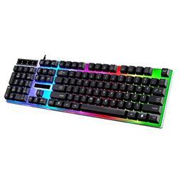 rainbow backlit wired gaming keyboard