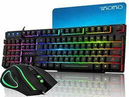 CHONCHOW Rainbow Gaming Keyboard Mouse Combo Mechanical Feel