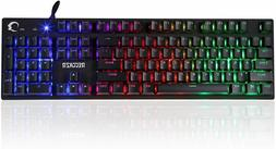 Rainbow LED Backlit Ergonomic Gaming Keyboard USB Wired Mech