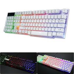 Rainbow LED Backlit USB Wired Mechanical Feeling Multimedia