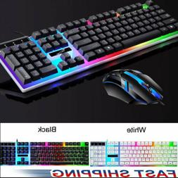 rainbow led gaming keyboard and mouse set