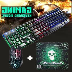 Rainbow RGB Gaming Keyboard Set LED Backlit Mechanical Feeli