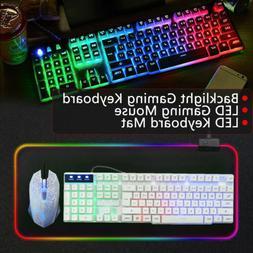 RGB Gaming Keyboard LED Backlit Computer PC Mechanical Feeli