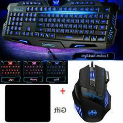 RGB Gaming Wired Mechanical Keyboard + Mouse Kit Set Led Bac