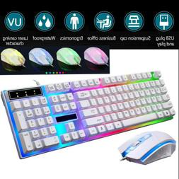 RGB Gaming Mechanical Keyboard W/ Mouse Wired Membrane Keys