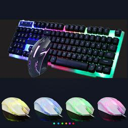 RGB Gaming Mechanical Keyboard W/ Mouse Wired Membrane Keys