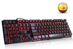 Rii RK100 3-Color LED USB Wired Spanish <font><b>Gaming</b><