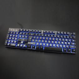 Rii RK100 3 LED Color Backlit Wired Multimedia Gaming Keyboa