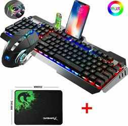 US Wired Gaming Keyboard Mouse Set Mechanical Feel RGB Backl