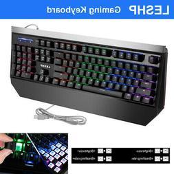 LESHP USB Gaming Keypad Office Mechanical Keyboard LED Backl
