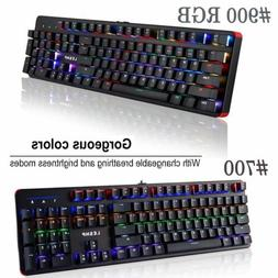 LESHP Wired Aluminum Plate RGB Game Office 104 Keys Keyboard