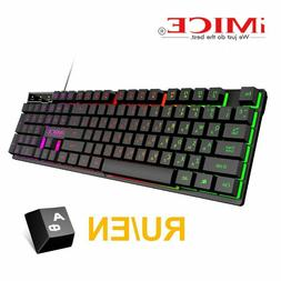 Mechanical Gaming Keyboard LED Backlit with Blue Switches Wa