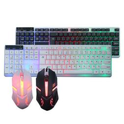 Wired Keyboard Mouse Combo RGB Backlit LED For PC Laptop Gam