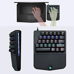 Hisoul Free-Wolf K9 One-Handed Gaming Keyboard, 28 Key Wired